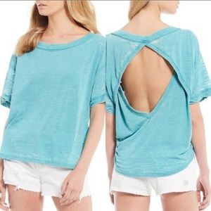 Free People Viola Open Back Burn Out Tee